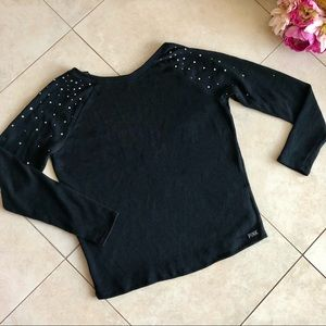 VS PINK Rhinestone Knit Sweater With Plunge Back L